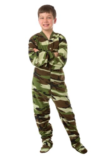 Big Feet Pjs Infant - Toddler Green Camo (505) Fleece Footed Pajamas 12M - 4T (4T) front-555020
