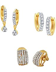 Zeneme Combo Of Trendy Gold Plated Hoop Earrings Jewellery For Women And Girls