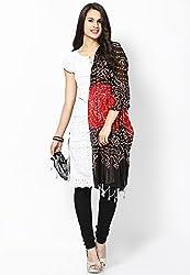 Soundarya Ethnicwear Red Black Cotton Bandhej Handwork Dupatta for Women (3032)