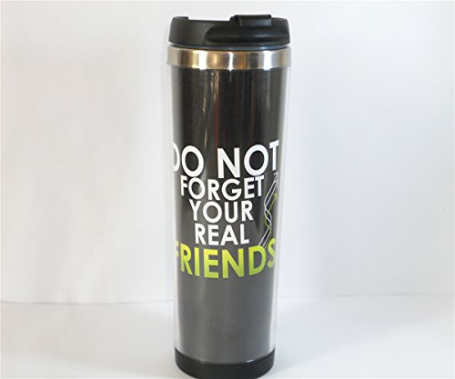 Yanbo New Diy Cup For Unisex Adults Friendship Don'T Forget Your Friend Pattern Black Art Coffee Mug Tea Cup Travel Cup Drink Ware 18 Cm 420 Ml Best Gift