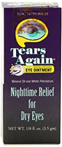 Tears Again Eye Ointment, Sterile Lubricant, Nighttime Relief for Dry Eyes, 0.125 Ounce (3.5 g)