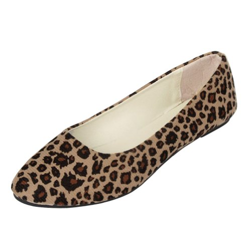 FUNOC Womens Leopard Print Ballet Ballerina Flat Pump Ballet Dolly Shoes Reviews