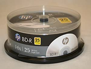 HP BD-R 6X 25GB Blu-Ray 25 Pack Blank Discs in Spindle