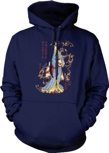 Japanese Geisha Mens Tattoo Sweatshirt, Old School Tattoo Style Design Mens Pullover Geisha Hoodie, Xx-Large, Navy