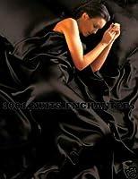 Parure de Lit Satin Noire 6 pcs Housse de Couette 220x260 Taies Drap Housse lit 180 cm