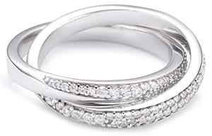 Esprit - ESRG91579A160 - Love Tangent Double - Bague Femme - Argent 925/1000 8.3 gr - Cristal - Oxyde de zirconium - Blanc - T 50