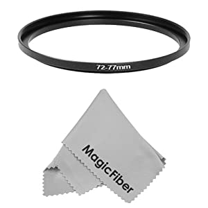 Goja 72-77mm Step-Up Adapter Ring (72mm Lens to 77mm Accessory) + Premium MagicFiber Microfiber Lens Cleaning Cloth