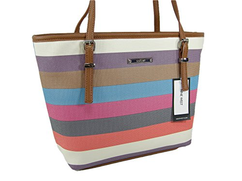 New Nine West Logo Purse Hand Bag Tote Multicolor Stripe It Girl Medium Size