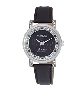 Q and Q Attractive ION-PLATED women Silver Case with rhinestones black Band