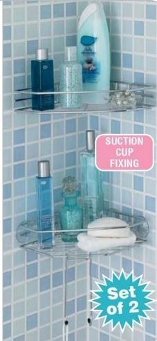 Suction Cup Fixing Chrome Corner Bathroom Shelves No Screws