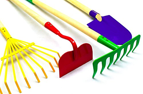 Kids large 4pc rake shovel spade hoe garden tool set for Large rake garden tool