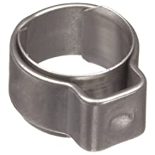 "Oetiker 1-Ear Type Stainless Steel 304 Hose Clamp with Stainless Steel 302 Insert, OD .185"" Closed and .224"" Open, 5.5""W (Pack of 25)"
