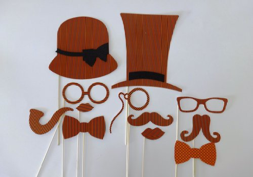 Halloween Photo Booth Party Props Mustache on a Stick Booooo Orange and Black Stripes