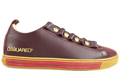 scarpe donna DSQUARED 39 sneakers bordeaux camoscio pelle AM633-C