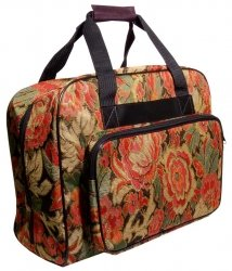 Hemline Burgandy Floral Sewing Machine Tote Bag