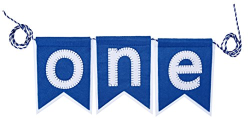 "Mud Pie ""ONE"" Pennant Happy Birthday Boy High Chair Banner Garland Sign Felt"