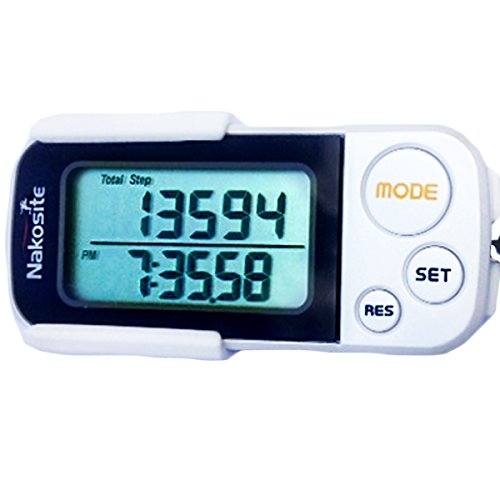 NAKOSITE Best Walking 3D Pedometer with Clip and Strap plus Free eBook....