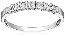buy 10K White Gold 7-Stone Shared-Prong Diamond Ring (1/2 Cttw, J-K Color, I2-I3 Clarity), Size 5