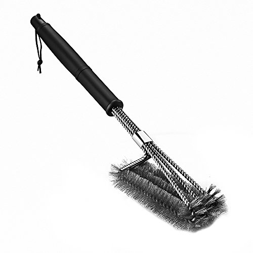 [Upgraded Version] Homitt BBQ Grill Brush Sturdy Stainless Steel Barbecue Brush Cleaner, 18 inch Long Enough to clean Charcoal, Weber, Porcelain and Infrared Grill - Handy Storage Bag Included