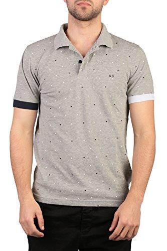SUN68 Uomo Polo Maglia T-Shirt Primavera Estate Grigio Art 16117 06 P16