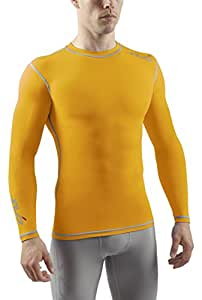Sub Sports Herren Dual Kompressionsshirt Funktionswäsche Base Layer langarm, Gelb, S