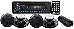 PYLE PLCD4MRKT Marine Single-DIN In-Dash CD AM/FM-MPX Receiver with 4 Speakers & Stereo Cover