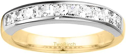 Sterling Silver Classic Princess Cut Channel Set Wedding Band set with Diamonds G-H I2-I3 025 ct twt