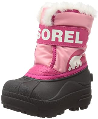 Sorel Snow Commander Winter Boot,Coral Pink/Bright Rose,4 M US Toddler