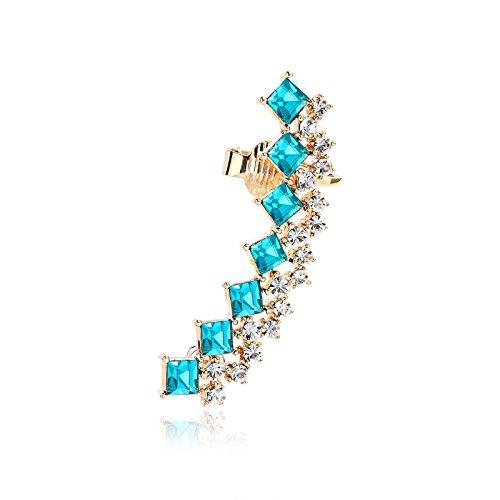 OKAJEWELRY Deco Strass orecchino Ear Cuff Wrap Oltre Orecchio Sinistro, ottone, colore: Blue, cod. 0726630106850
