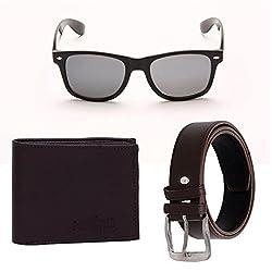 Random 19C Mens Belt, Wallet and Black Wayfarer Sunglass Combo (Brown)(9C8WFWLBTBRN)