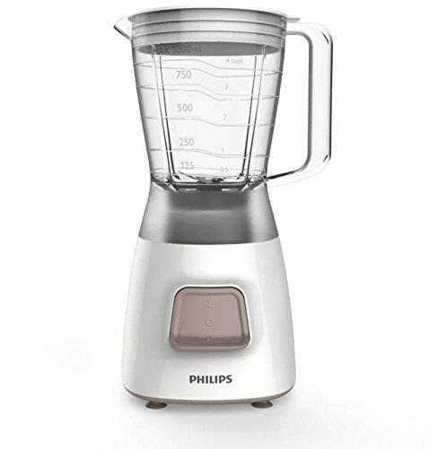 Philips HR2052/00-Frullatore Daily Basic, Ciotola, in plastica, 1,2 L, colore: bianco, 350 W, 1 Velocità
