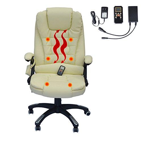 Executive Ergonomic Heated Vibrating Computer Desk Office Massage Chair - Cream
