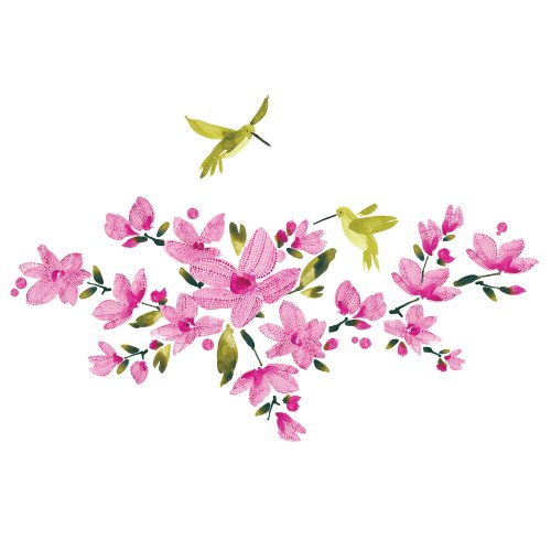 RoomMates RMK2496SCS Flowering Vine Peel and Stick Wall Decals, Pink, 1-Pack - 1