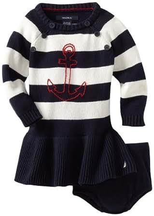 Nautica Sportswear Kids Baby Girls' Long Sleeve Striped Sweater Dress, New Sport Navy, 18 Months