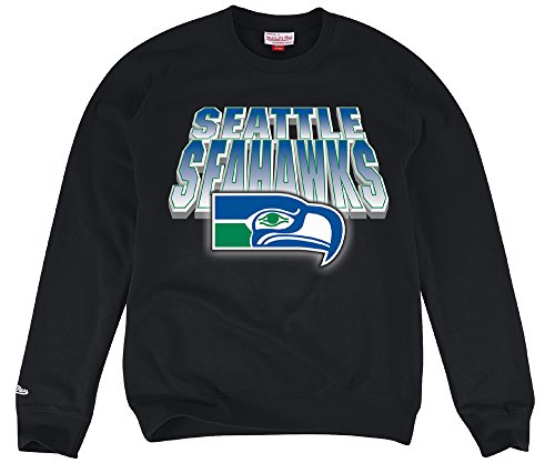 Seattle-Seahawks-Mens-Mitchell-Ness-Block-Blur-Crew-Sweatshirt-Black-2X-Large