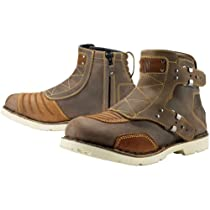 Hot Sale Icon 1000 El Bajo Men's Leather Street Motorcycle Boots - Oiled Brown / Size 9