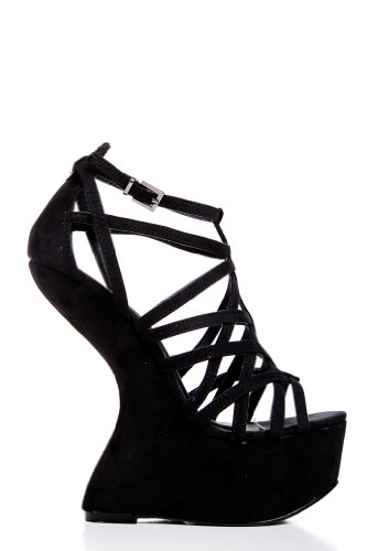 ContouBlack Faux Suede Gladiator Platforms in Black