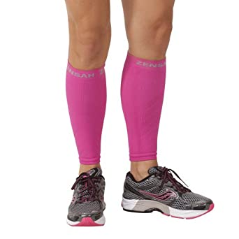 Zensah Compression Leg Sleeves, Magenta, Large/X-Large