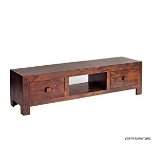 PLASMA MEDIA UNIT CUBE MANGO DAKOTA HARDWOOD INDIAN FURNITURE