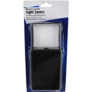 Bausch & Lomb BAL819008 Compact Lighted Magnifier, 2x Square Lens, Black Frame