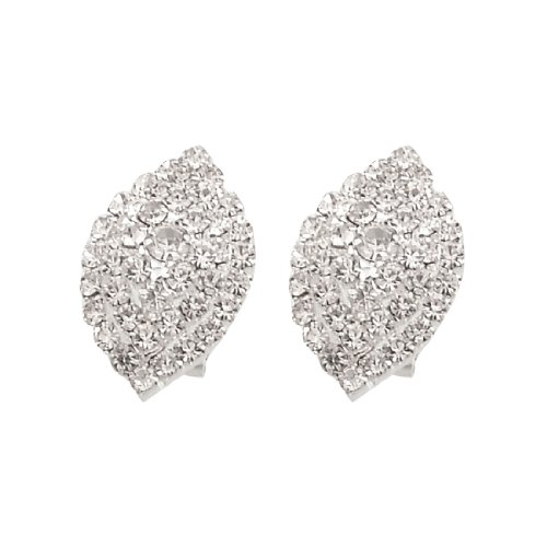 Rosallini Ladies Glittery Rhinestone Cluster Eardrop Pierced Earrings Pair