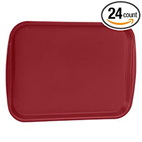 "Traex 1216-21 Burgundy Plastic 12 x 16"" Fast Food Tray - 24 / CS"