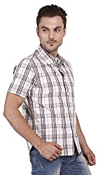 Yuvi Men's Slim Fit Cotton Shirt (10002010_White Brown_M)