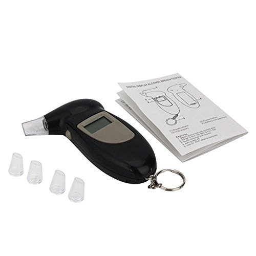 Niceeshop LCD Display Semiconductor Alcohol Sensor Breath/ Digital Breath Alcohol Tester Breathalyzer with Audible Alert Keychain