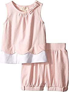 kate spade york Babies' Scallop Tank and Short Set, White/Valentine Pink Dot