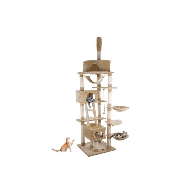 Happypet CAT015-2 Arbre à chat Griffoir Grattoir 230-260cm Beige