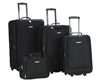 Rockland Luggage Dot 4 Piece Set, Black, One Size