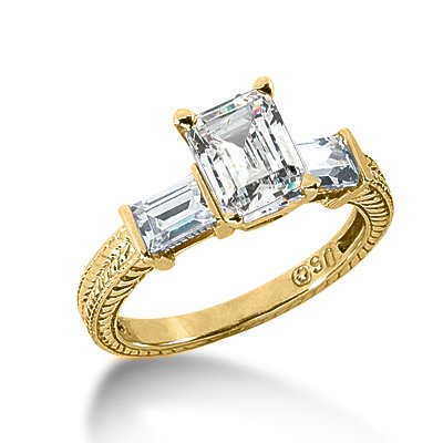 1.10 Ct Diamond Engagement Ring Emerald Cut Solitaire Antique Style SI3 H