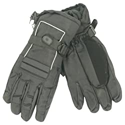 "Men's ""Moguls"" Thinsulate Lined / Waterproof Padded Ski Gloves - Black, Large"