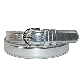 CTM® Womens Leather 1 1/8 Inch Metallic Dress Belt